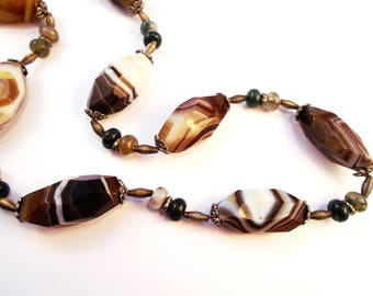 The Golden Sunset - Agate and Tibetan Silver Handmade Necklace