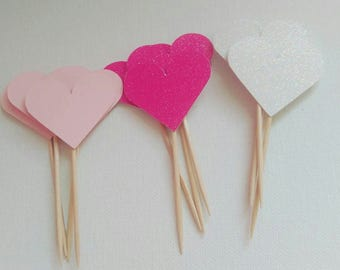 heart cupcake toppers, cupcake toppers, pink and white birthday