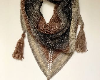 Metallic Triangle Scarf with Tassels