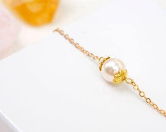 Single Pearl Bracelet, Bridesmaid Gift Idea, One Pearl Bracelet, Ivory Pearl Bracelet, Simple Bracelets, Everyday Bracelet, Dainty Bracelet
