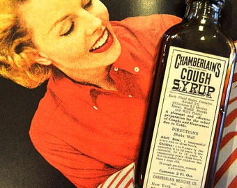 Vintage Cough Syrup - Chamberlain's Cough Syrup - Glass Bottle - with Chloroform! Antique Medicine - 1920's - Vintage Bathroom Decor