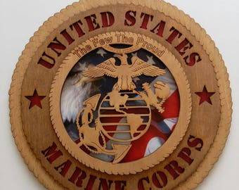 United States Marine Corps wood sign