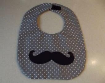 Mustache Baby Bib - Gray and White