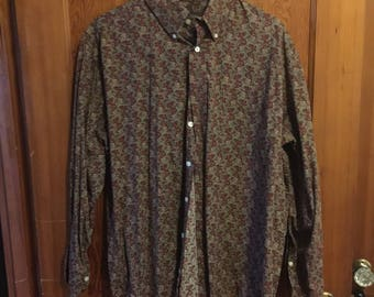Mens paisley Large button up long sleeve shirt