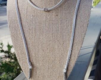 Blue/Gray Suede LONG Wrap Necklace