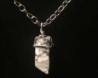 Marble wire wrapped necklace