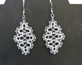 Lace earrings, bobbin lace earrings, lace jewelry, handmade jewelry, handmade earrings, handmade lace, bobbin lace jewelry,Swarovski crystal