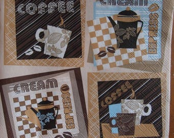 4x Paper Napkins for Decoupage Craft Scrapbooking Coffee 080