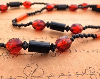 Vintage Beaded Necklace - Deep Amber Red And Black Acylic Beads, Costume Jewellery, Great Vintage Condition