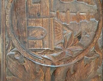 Vintage wooden crafted carved keepsake/ trinket box