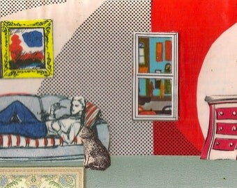 Man Smoking Pipe on Couch with Cat by his Side Handmade Collage Print