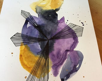 Watercolor  & Ink : Painting // by a sky // home decor // art // abstract // gift