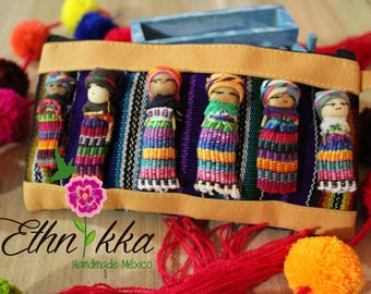 Small bag handmade / hand-made cosmetiquera / dont worry dolls / traditional Oaxacan bag / worry doll / embroidery purse