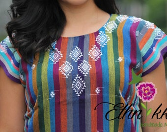 Ethnic Mexican blouse / bodice, hand-woven in Chiapas / BLOUSE style BOHO