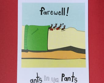 Ants in Ya Pants - blank farewell greeting card