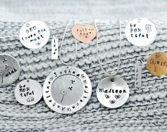 Personalized hand-stamped charm necklace
