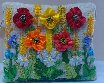 Embroidered ribbons bag.Ribbon embroidery.Hand embroidery.Handbag.Floral bag.Embroidered bag.Beige bag.Shoulder bag.Wheat.Poppies.Hobo bag.