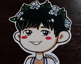 S206 Wonwoo Flower Crown Sticker