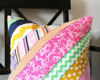 Colorful Spring Diagonal Striped Pillow Cover