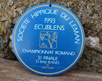 Wall Plaque,Swiss Vintage Prize Medal Horse Show 1993,Plaque Horse Show,Horse Award Plate,Horse Racing Metal Plaque,Horse Wall Decoration
