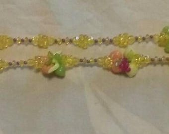 Vintage Colorful/Rainbow/Retro/ Fruit Motif/Fun Jewelry/Costume/ Grandma/ Beaded Necklace