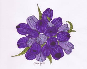 Purple Tulip Bouquet Illustration Print, Printable Art, Digital Download, Tulip Bouquet Drawing