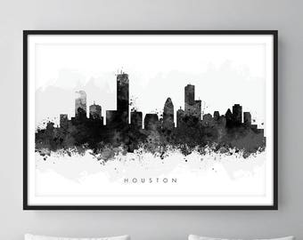 Houston Skyline, Houston Texas Cityscape Art Print, Wall Art, Watercolor, Watercolour Art Decor