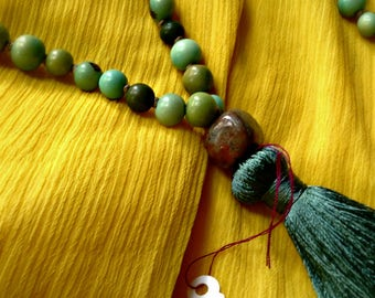 Japa Mala - Green Multi Tone - 108 Beads with Spacers and Pendant