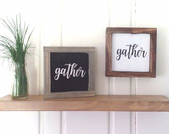Gather Wood Sign Small Framed Wooden Kitchen Modern Farmhouse Word Art Fixer Upper Style