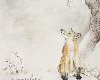 Watercolor Wintry Fox