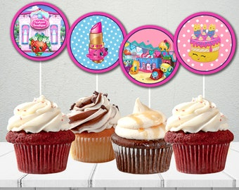 SHOPKINS BIRTHDAY PARTY toppers,Shopkins Cupcake topper,Shopkins birthday party ideas,Shopkins circle stickers,diy party decoration,girls