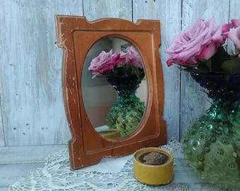 Vintage mirror, mirror vintage, wooden frame stylish, old mirror, beauty make-up, made in the USSR, 1970s, gift ladies' room.
