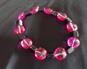 10 inch pink and black jewled bracelet
