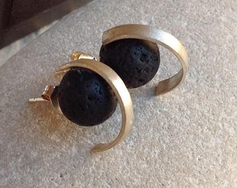 GRACE Earrings sterling silver and volcanic stone. Earrings.