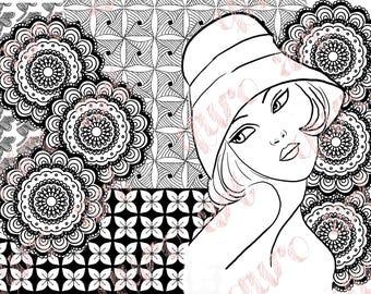 Printable coloring page digital download mandala girl art