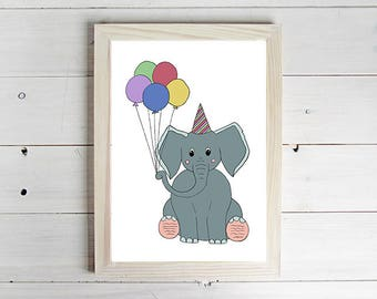 Party Elephant - Unframed Art Print, Elephant Drawing, Nursery Picture, Animal Wall Art, Children's Decor, Kid's Bedroom.
