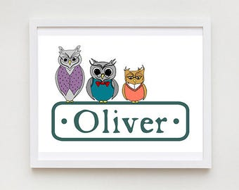 Personalised Owl Print - Animal Drawing, Nursery Wall Art, Children's Name Sign, Kid's Bedroom Door Sign, Bedroom Decor