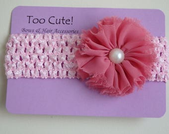 Pretty pink Chiffon Flower Headband with Pearl Accent