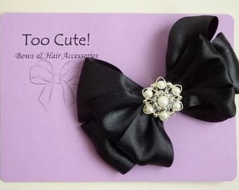 Black Satin Hair Bow with Pearl and Rhinestone Embellishment