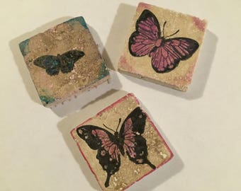 Tile Magnets! Three Butterflies