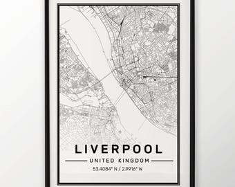 Liverpool City Map Print, Modern Contemporary poster in sizes 50x70 fit for Ikea frame All city available London, New york Paris Madrid Rome