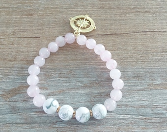Compass - Howlite - bracelet rose Quartz