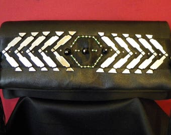 "Album cover ""Tina Turner"" rock leather and aluminum Black with embroidered beads and fringe"
