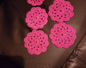 handmade coasters flower coasters set of  6 multi colour