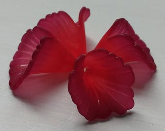 Two Tone Lucite Flower Beads, Large Ruffled Flower, Matte Rouge, 4