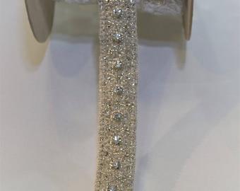 1 yard Rhinestone trim,applique trim, Bridal Applique, DIY Weddings, trim, rhinestone applique, crystal sash, bridal sash hand made #70012