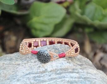 Tan N Red Leather Wrap Bracelet, Wrap Bracelet