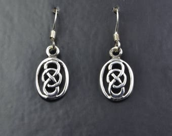Celtic Design Sterling Silver Earrings with a Celtic Knot