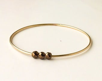 Bronze haematite three bead bangle | 14k gold filled
