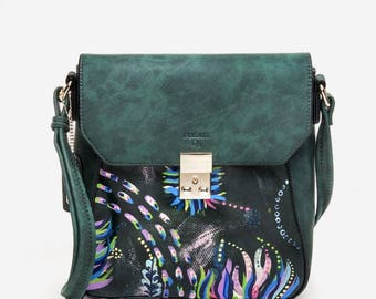 One of a Kind Hand-Painted Emerald Green Vegan Leather Crossbody Handbag/Purse - Under the Sea 2 - by Mindless Doodles